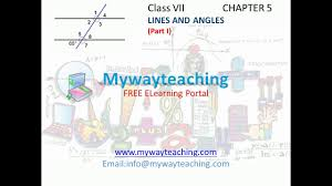 math class 7 chapter 5 part i lines and angles lines and angles