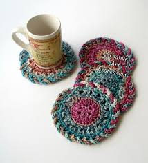 crocheted home decor creative art expressions crocheted coasters round large ready to ship bright pink coral teal blue set of 4 cotton coasters home decor kitchen decor 4 coasters