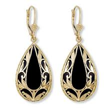 onyx earrings black onyx and gold diamond cut leaf earrings in 14k yellow gold