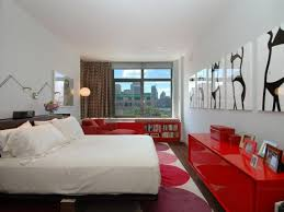 black and white bedroom with red detail interior design ideas