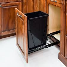 elegant kitchen design with single pull out trash can in cabinet