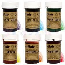 sugarflair paste gel food colours rainbow set of 6