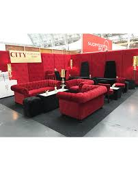 red velvet chesterfield style doughnut tower city furniture hire
