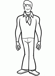 fred jones thinking scooby doo coloring pages