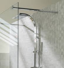 bathroom elegant porcelanosa tile with rain shower and glass