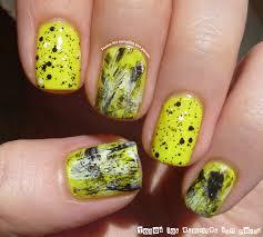 neon yellow with black and white nail art by maria nailpolis