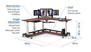 stand up l with shelves l shaped adjustable uplift sit stand up desk afcindustries com