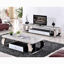 grade stainless steel marble glass coffee table tv cabinet modern