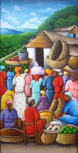 yvon jean pierre paintings haitian life oil on canvas