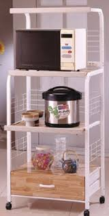 amazon com white kitchen rolling microwave cart with power strip