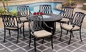amazon com san marcos cast aluminum outdoor patio 7pc set 50 inch