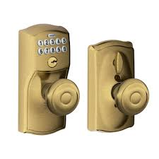 home depot door knobs interior schlage camelot antique brass keypad entry with flex lock with