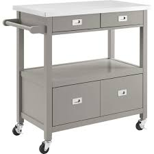 linon 464917gry01u sydney kitchen cart in gray w stainless steel top