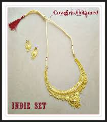 earring necklace set images Cowgirl gypsy necklace set bright beautiful gold filigree delicate jpg