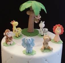 jungle favor 7 jungle animals cake topper baby jungle cake
