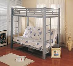 Amazoncom Coaster Futon Metal Bunk Bed In Silver Finish Twin - Metal bunk beds with futon