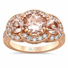 gold stone rings images Morganite three stone rose gold engagement ring with engraving and jpg