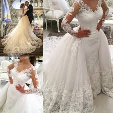wedding dress with detachable 2018 tulle sleeves v neck appliques detachable skirt