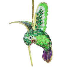 feeding hummingbird cloisonne ornament animal emporium figurines
