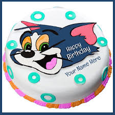 print name on tom and jerry cartoon birthday cake for k