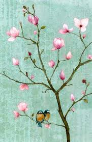 chris chun 2 birds in a magnolia tree such a simple composition
