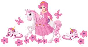 princess on a horse with unicorns wall sticker totally movable princess horse unicorn strip jpg