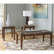 signature design by ashley theo brown occasional table set of 3