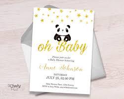 Panda Baby Shower Invitations - printable personalized panda baby shower invitation stars