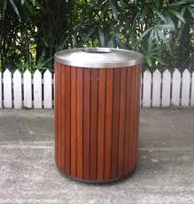 316 stainless steel and merbau wood outdoor trash can