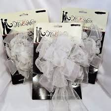 studio his and hers studio his hers wedding bows organza pew decoration white silver