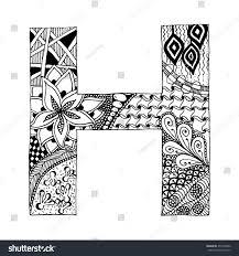 zentangle stylized alphabet letter h doodle stock vector 455555890