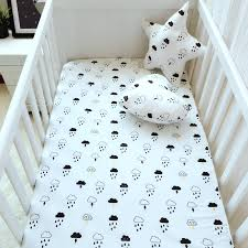 Crib Mattress Fitted Sheet Black White Clouds Raindrops Mattress Cover Pink Color Cotton Baby
