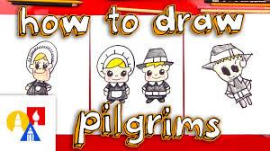 fun2draw thanksgiving how to draw cartoon pilgrims boy u0026 youtube
