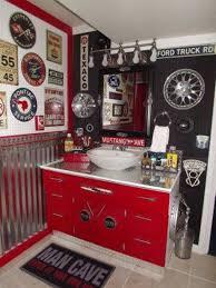 boy teenage bathroom ideas man cave red white vanity and bowl sink
