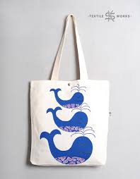 three whales tote bag handmade fabric bag with whale applique