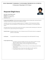 Telecom Sales Executive Resume Sample by Harpreet Singh Arora Resume For Project Manager