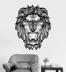 lion wall decal viinyl sticker home decor abstract lion face cat