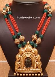beaded pendant necklace designs images Coral beads necklace with antique pendant jewellery designs jpg