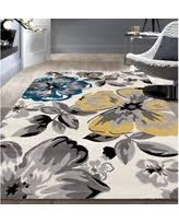 Modern Floral Rugs New Shopping Special Osti Modern Floral Design Blue Area Rug 7 6