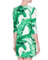 dolce u0026 gabbana 3 4 sleeve banana leaf print dress