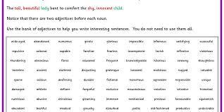 double adjective sentences classroom secrets