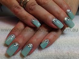 gel nails aqua nails glitter nail art diamantes crystals