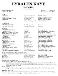 theatrical resume template theater resume template word acting actor exles doc throughout no