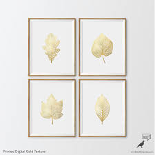 Gold Bathroom Decor by Matte Gold Foliage Prints 4 Set Botanical Prints Nursery Art
