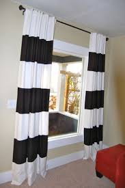 Curtain Design Ideas Decorating Interior Simple Black White Modern Fabric Striped Window Curtain