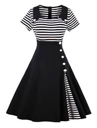 Pin 30 Black And White by Vintage Striped Buttoned Pin Up Dress In Black L Sammydress Com