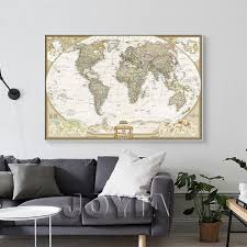 world map painting canvas prints large wall art europe vintage