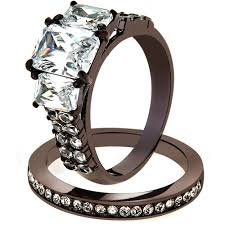 chocolate wedding ring set artk2560 chocolate stainless steel 2 75 ct cut cz wedding