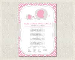 baby shower word search girls pink gray elephant theme baby