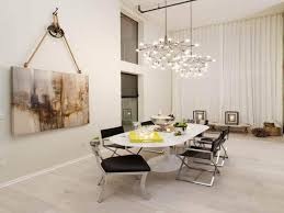 contemporary dining room with hanging painting wall art